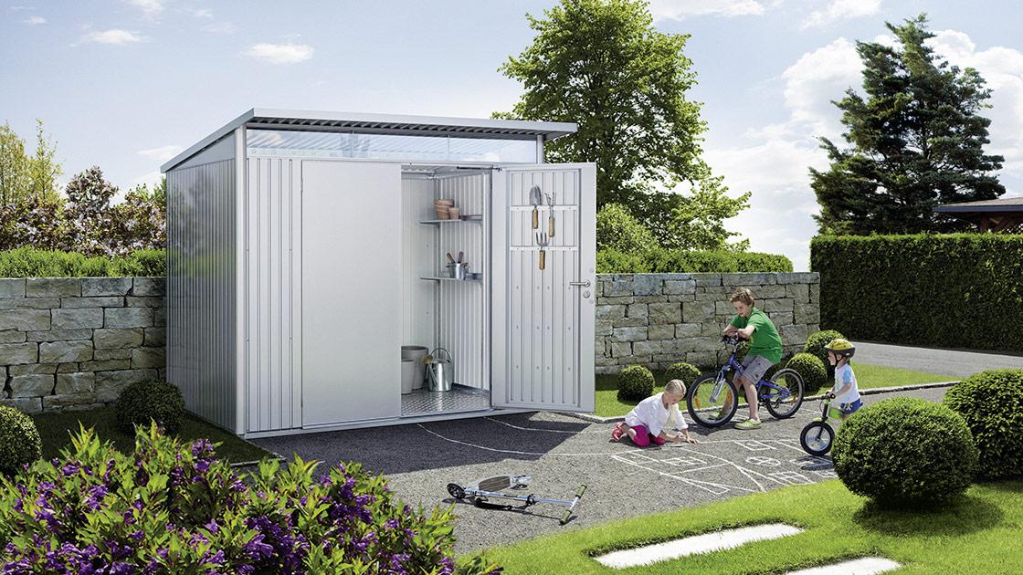 Weiße Gartenhäuser von HolzLand Bunzel in Marl und Hamm