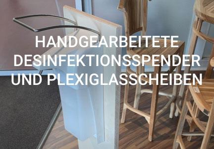 Desinfektionsspender und Plexiglasscheiben | HolzLand Bunzel in Marl und Hamm
